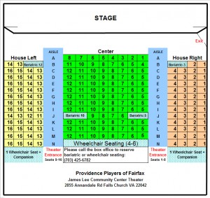 Theater Seating Chart as of 2014-Providence Players at the James Lee Community Center Theater