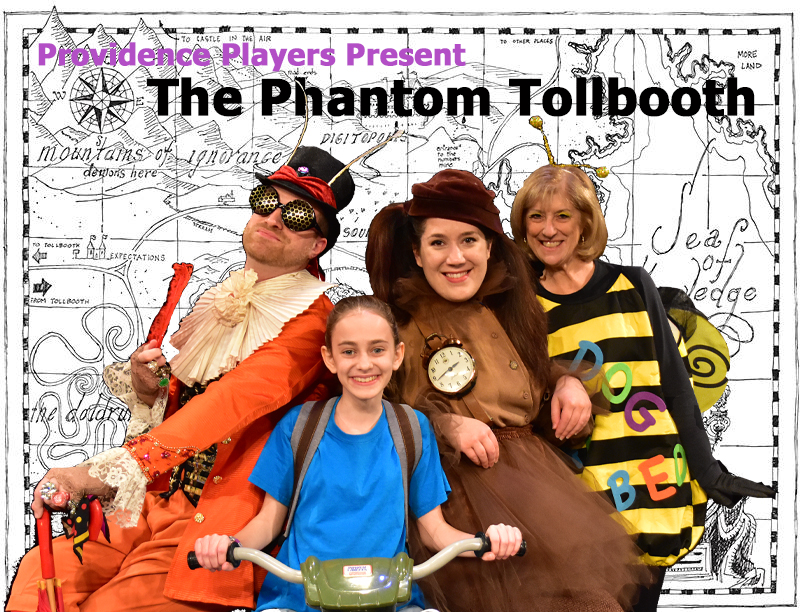 Derek Bradley as The Humbug, Talia Cutler as Milo, Amanda Ranowsky as Tock and Susan Kaplan as the Spelling Bee in the Providence Players production of The Phantom Tollbooth. Photo by Chip Gertzog, Providence Players