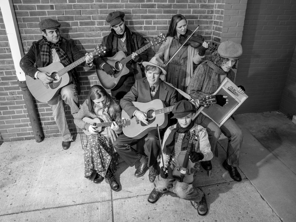 Tim Brown leads a bluegrass band: (left to right and top to bottom) Nick Manicone, Kyle McClain, Sara Maurer, Thomas Udlock, Ariana Colligan, Tim Brown and Shawn Hubbard. Photo by Rob Cuevas.