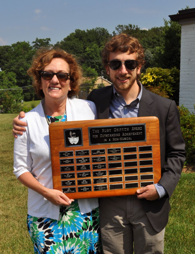 Director Barbara Gertzog and Technical Director Jimmy Gertzog With Ruby Griffith Award Plaque