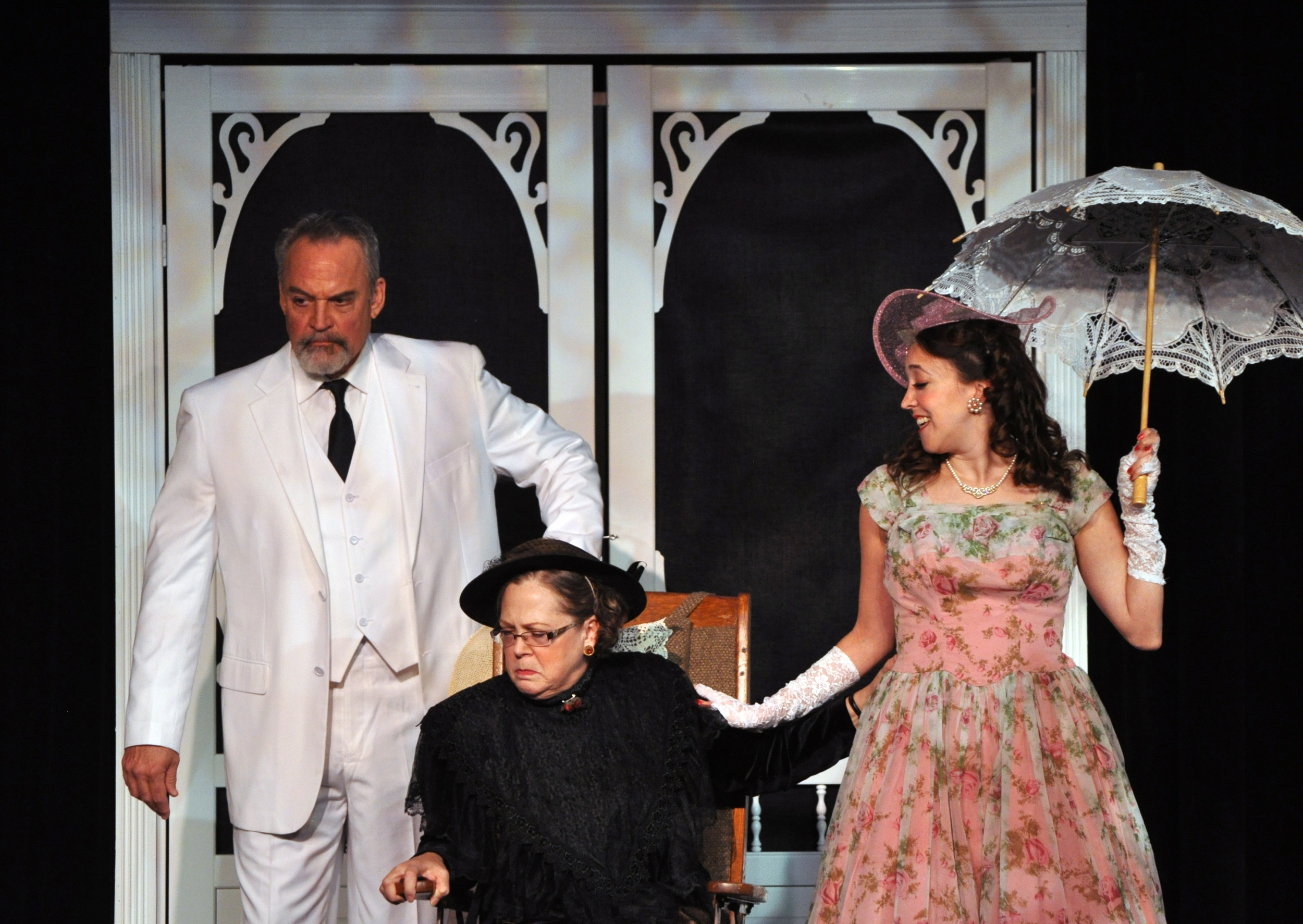 Patrick David, Smitty Connolly and Andra Whitt in the PPF Production of Auntie Mame Photo by Chip Gertzog Providence Players