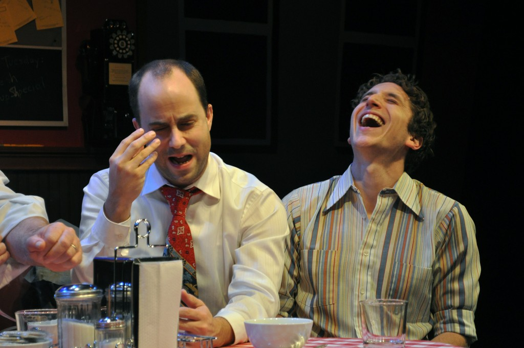 "Image: ""The Eyes Have It"": Bobby Welsh as Jonsey and Ari Post as Clifford in the Providence Players Production of Side Man"