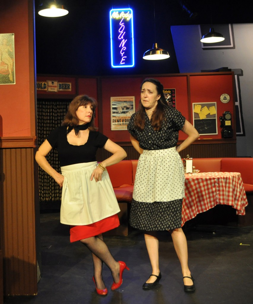 Image: L to R Tina Thronson as Patsy with Andra Whitt as Terry in a scene from The Providence Players Production of Side Man.