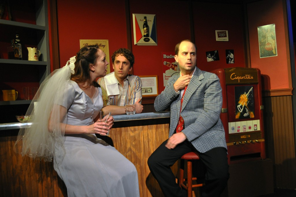 Image: Andra Whitt as Terry, Ari Post as Clifford and Bobby Welsh as Jonesy in the Providence Players Production of Side Man.