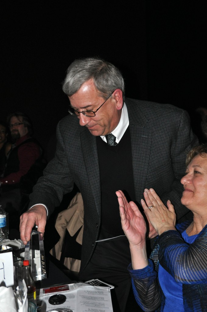 Chip Gertzog Gets A Hand from Barbara Gertzog After Accepting the 2012 Award for Outstanding Lighting Design in A Play
