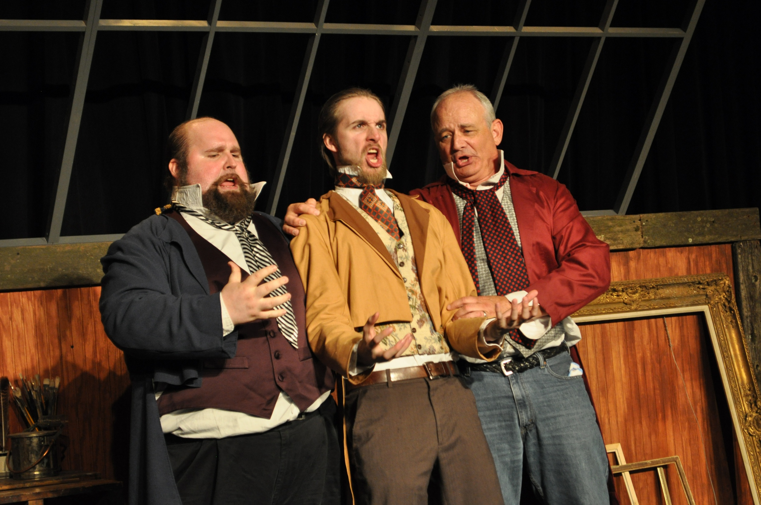 Twain created a circle of friends for Millet as wide as the United Nations. L to R: Thane Tuttle as Dutchy, Christopher Schwartz as O'Shaughnessy, and Craig Geoffrion as Chicago