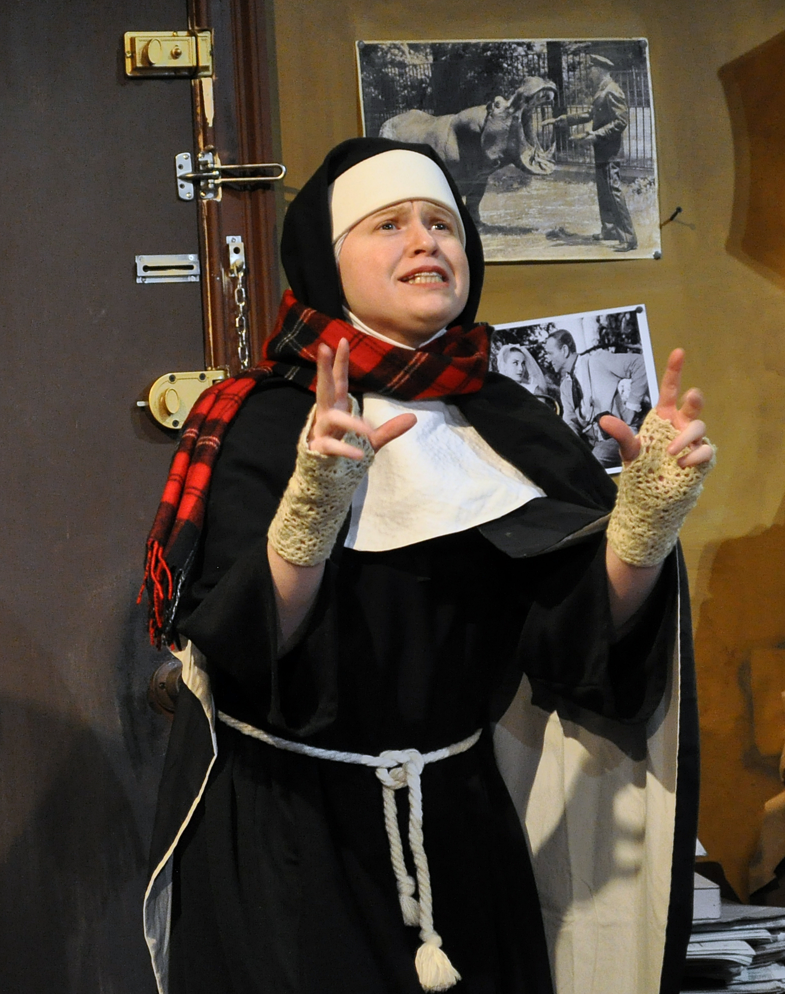 Jennifer Rubio as the Second Nun in PPF's House of Blue Leaves-Photo by Chip Gertzog