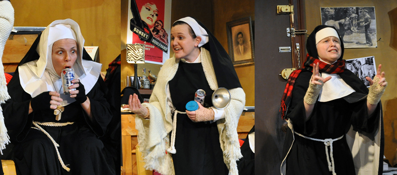 Allison Turkel as the Head Nun, Courtney Fonnesbeck as The Little Nun and Jennifer Rubio as the Second Nun in PPF's House of Blue Leaves-Photo by Chip Gertzog
