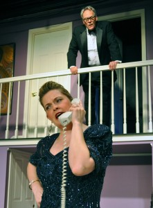 Charlene Sloan and Patrick David in the Providence Players production of Rumors Photo by Chip Gertzog