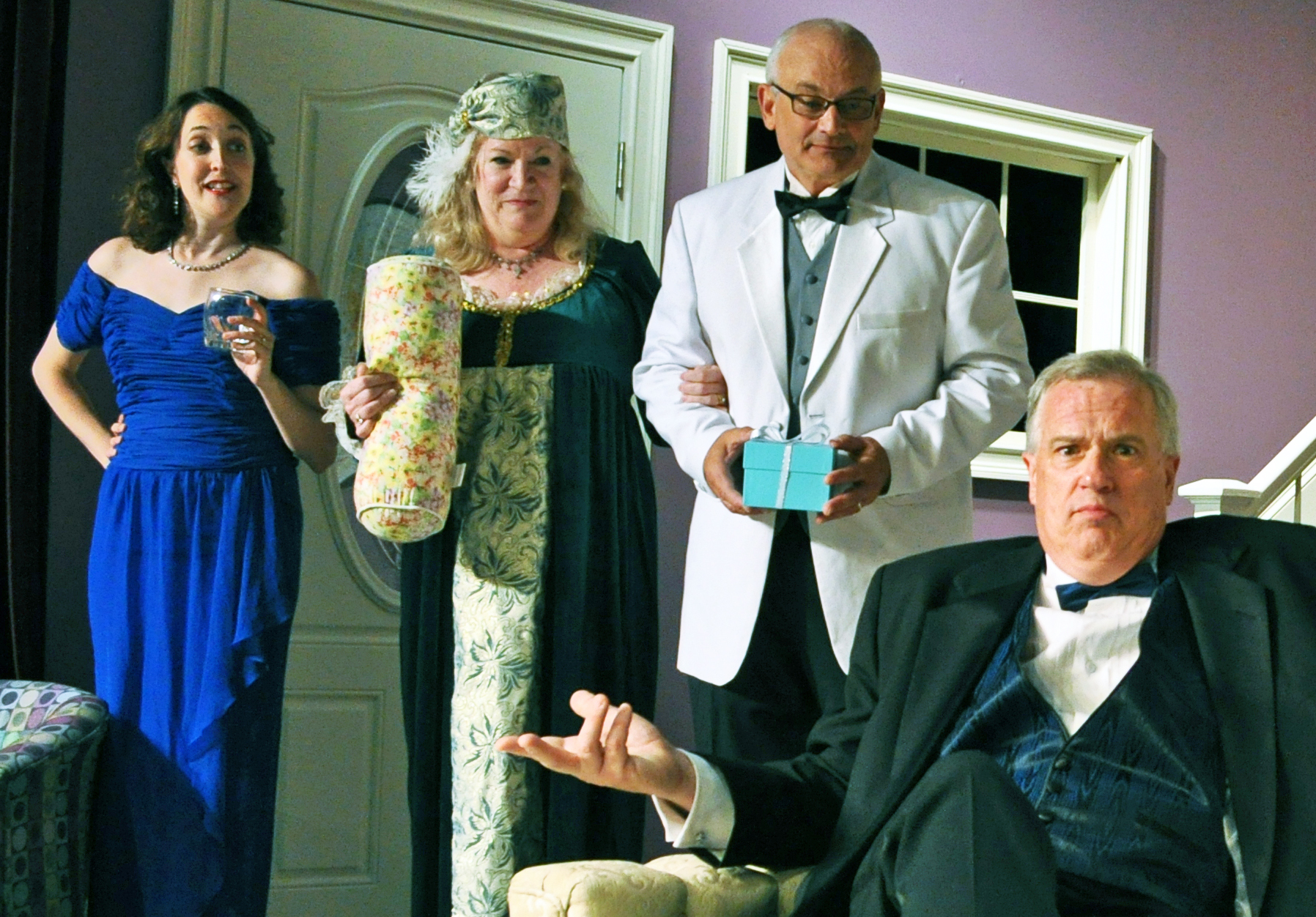 Andra Whitt, Beth Hughes-Brown, Craig Geoffrion and Don Myers in the Providence Players Production of Rumors Photo By Chip Gertzog