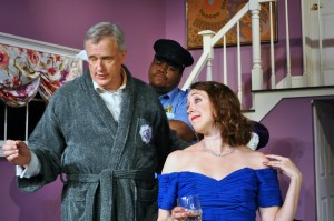 "Don Myers, Eric Jones and Andra Whitt in PPF's Comedy Hit Production of ""Rumors"" Photo By Chip Gertzog Providence Players"