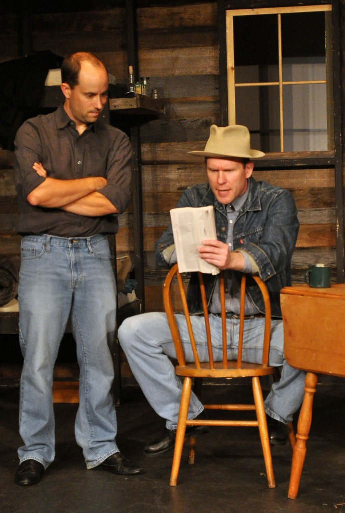 "Bobby Welsh as Whit and Ian Wade as Slim in ""Of Mice and Men"""