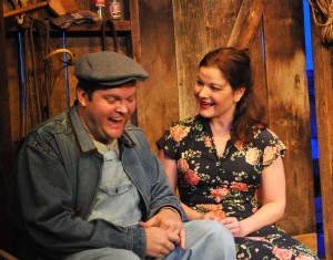 "Kyle Keene as Lennie and Julie Janson as Curley's Wife in Providence Players' ""Of Mice and Men"" Photo by Chip Gertzog"