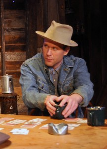Ian Wade in his Providence Players debut as Slim- Providence Players Of Mice and Men Photo by Chip Gertzog