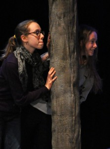 Meghan and Emma Ward rehearse for the Providence Players production of The Lion the Witch and the Wardrobe - photo by Chip Gertzog Providence Players
