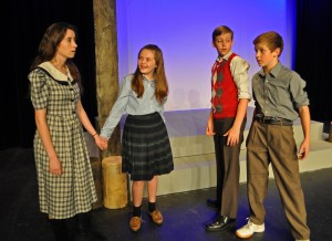 Rachel Yeager in her PPF Debut with Kyleigh Friel, Ethan Phillips and Nicholas Carlin in The Lion, the Witch and the Wardrobe - Photo by Chip Gertzog Providence Players