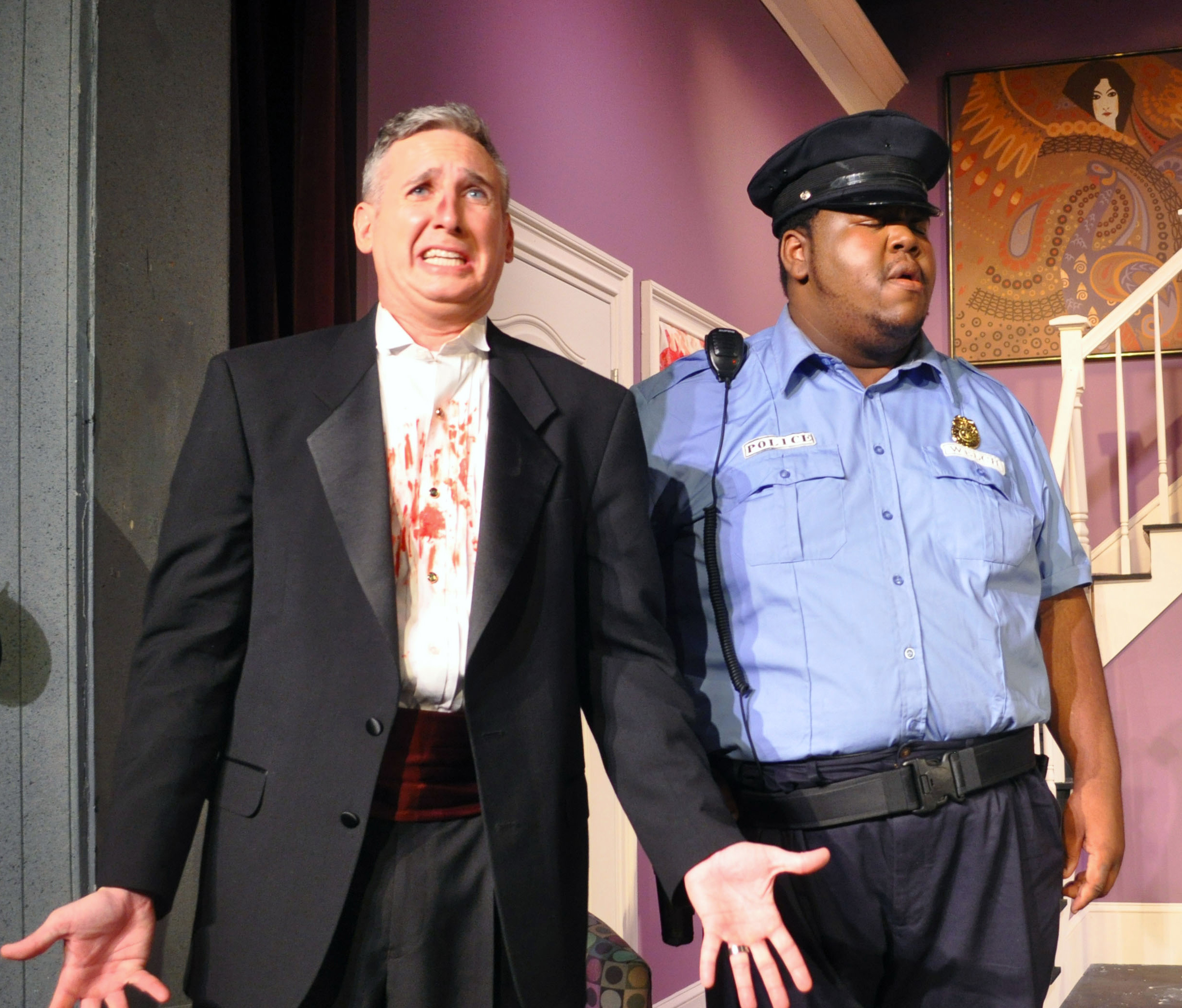 Zell Murphy as Glenn Cooper and Eric Jones as Officer Welch - Both recognized as 2014 Best Featured Actors - DCMTA Photo by Chip Gertzog Providence Players