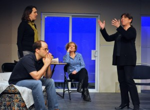 "The Cast of ""Other Desert Cities"" in early rehearsal. Photo by Chip Gertzog, Providence Players"