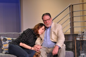 "Andra Whitt and John Coscia in Providence Players' ""Other Desert Cities"" - Photo by Chip Gertzog Providence Players"