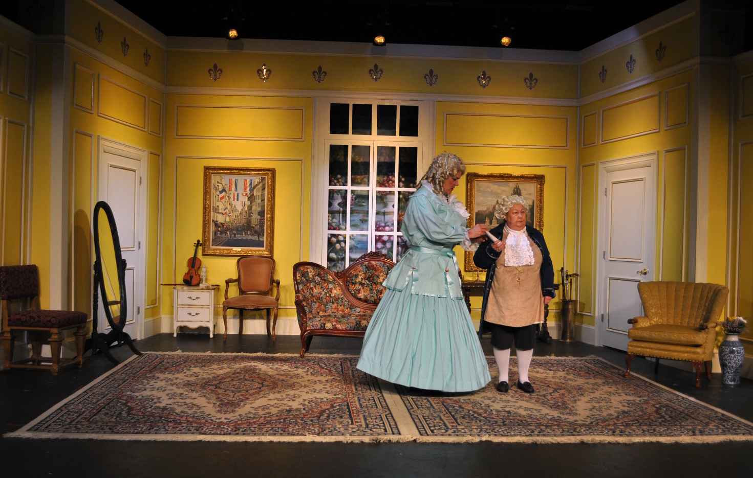The Set of Is He Dead Act 2 - Photo by Chip Gertzog Providence Players