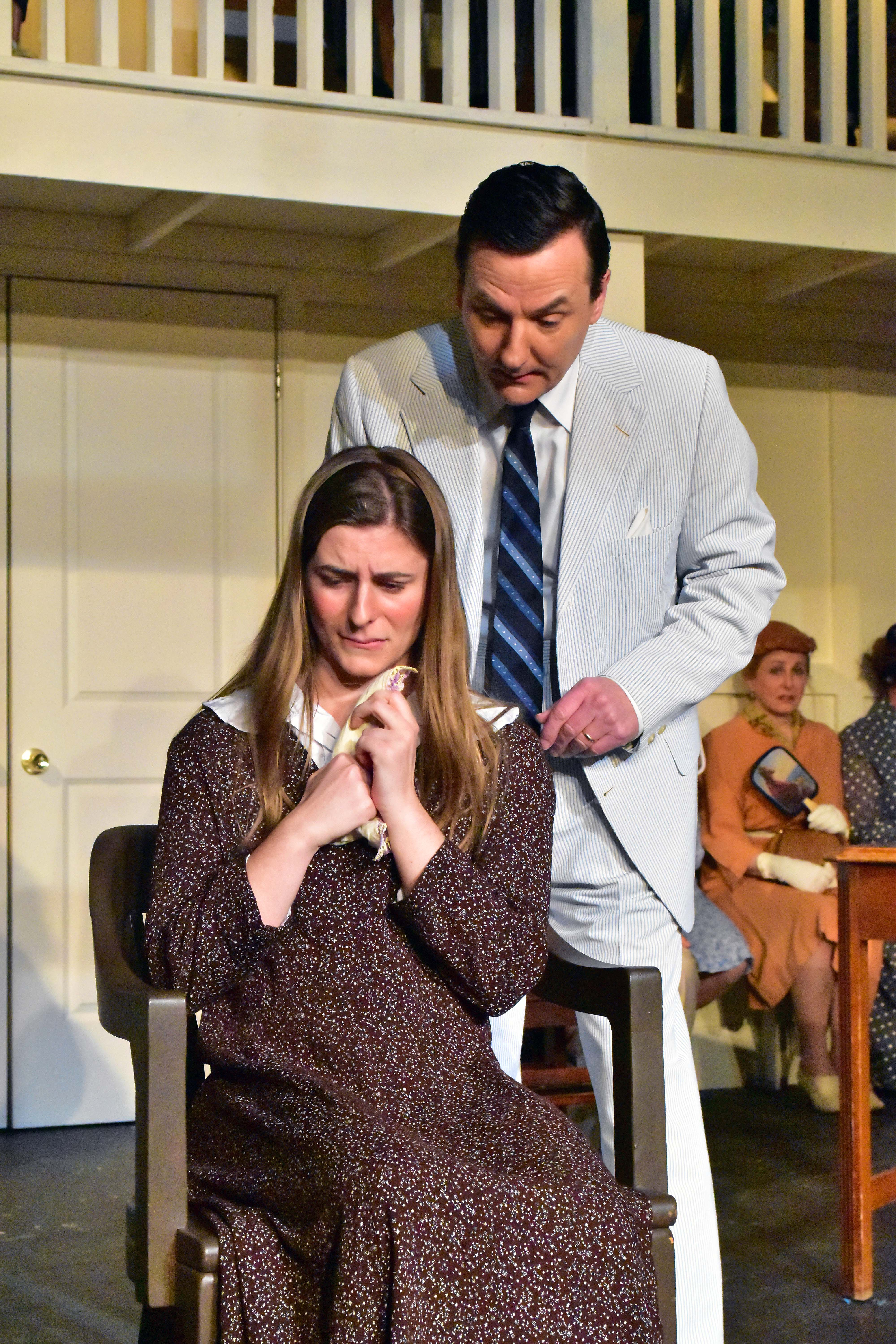 Ariana Colligan as Mayella and Chris Persil as Gilmer in To Kill a Mockingbird Photo by Chip Gertzog Providence Players
