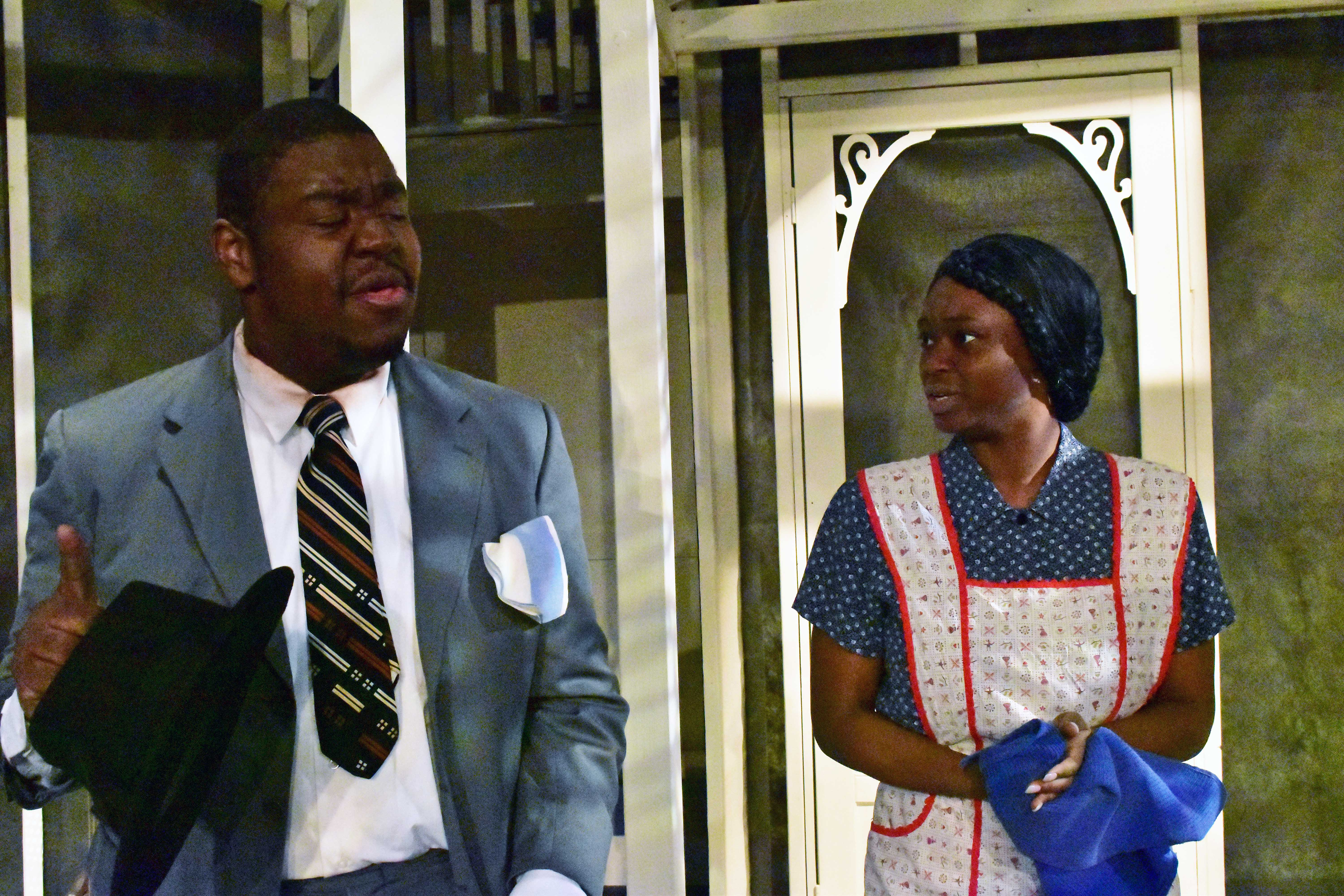 Eric Jones as Rev Sykes and Mihara India as Calpurnia in To Kill a Mockingbird Photo by Chip Gertzog Providence Players