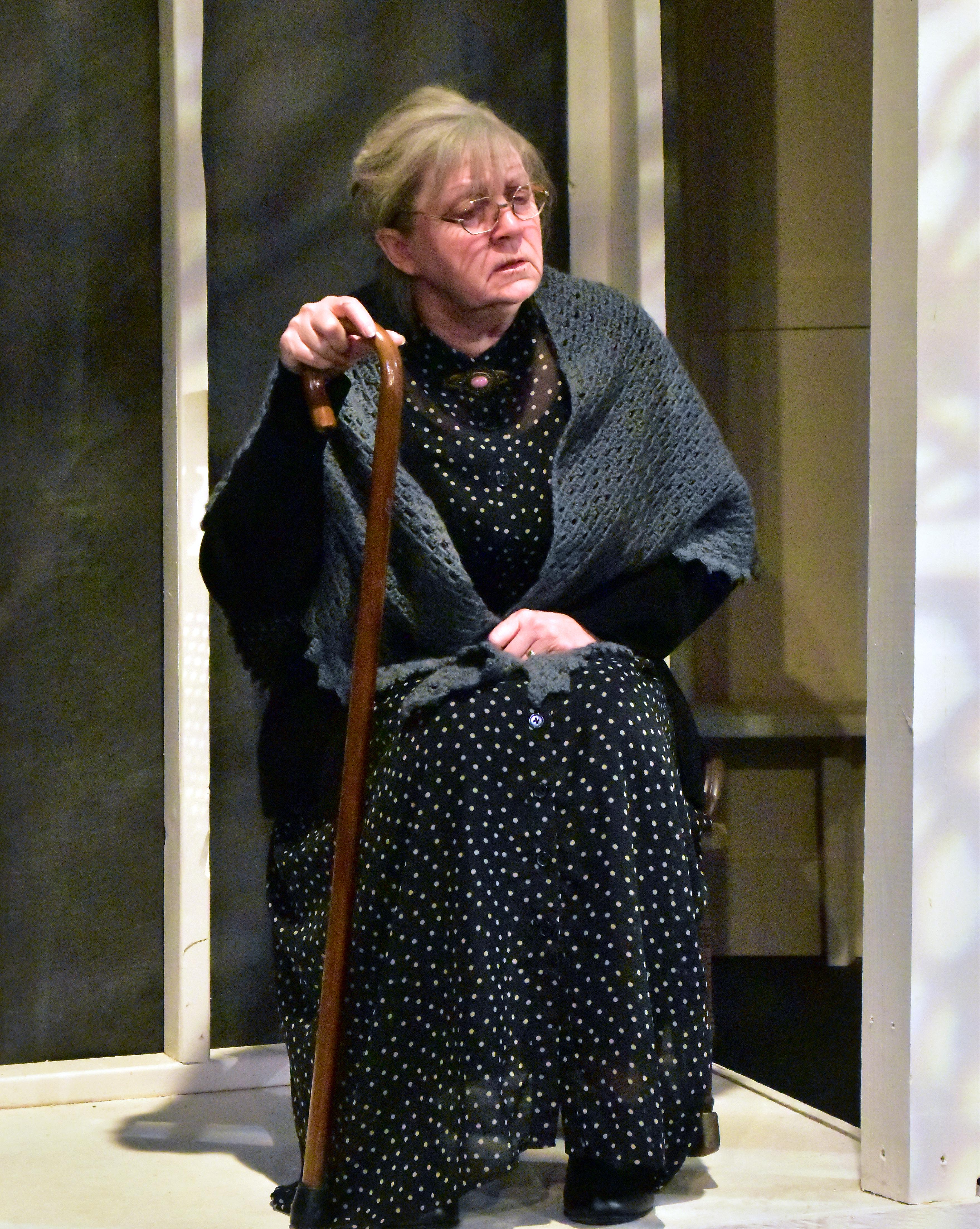 Mona Kay Helper as Mrs Dubose in the Providence Players Production of To Kill a Mockingbird. Photo by Chip Gertzog Providence Players