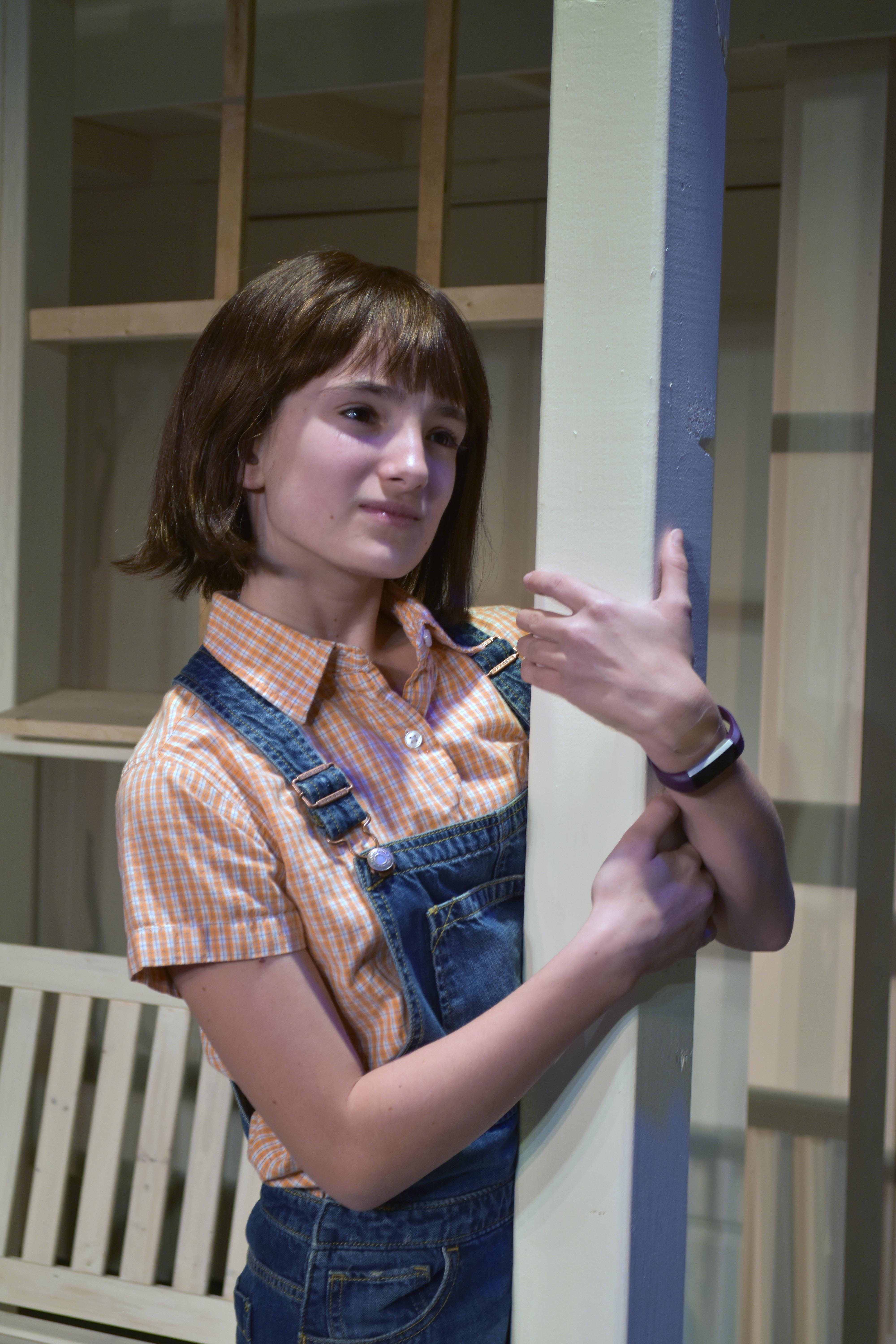 "Sophia Manicone makes her Providence Players debut as Scout in ""To Kill a Mockingbird"" opening March 24th at the James Lee Community Center Theater – Photo by Chip Gertzog, Providence Players"