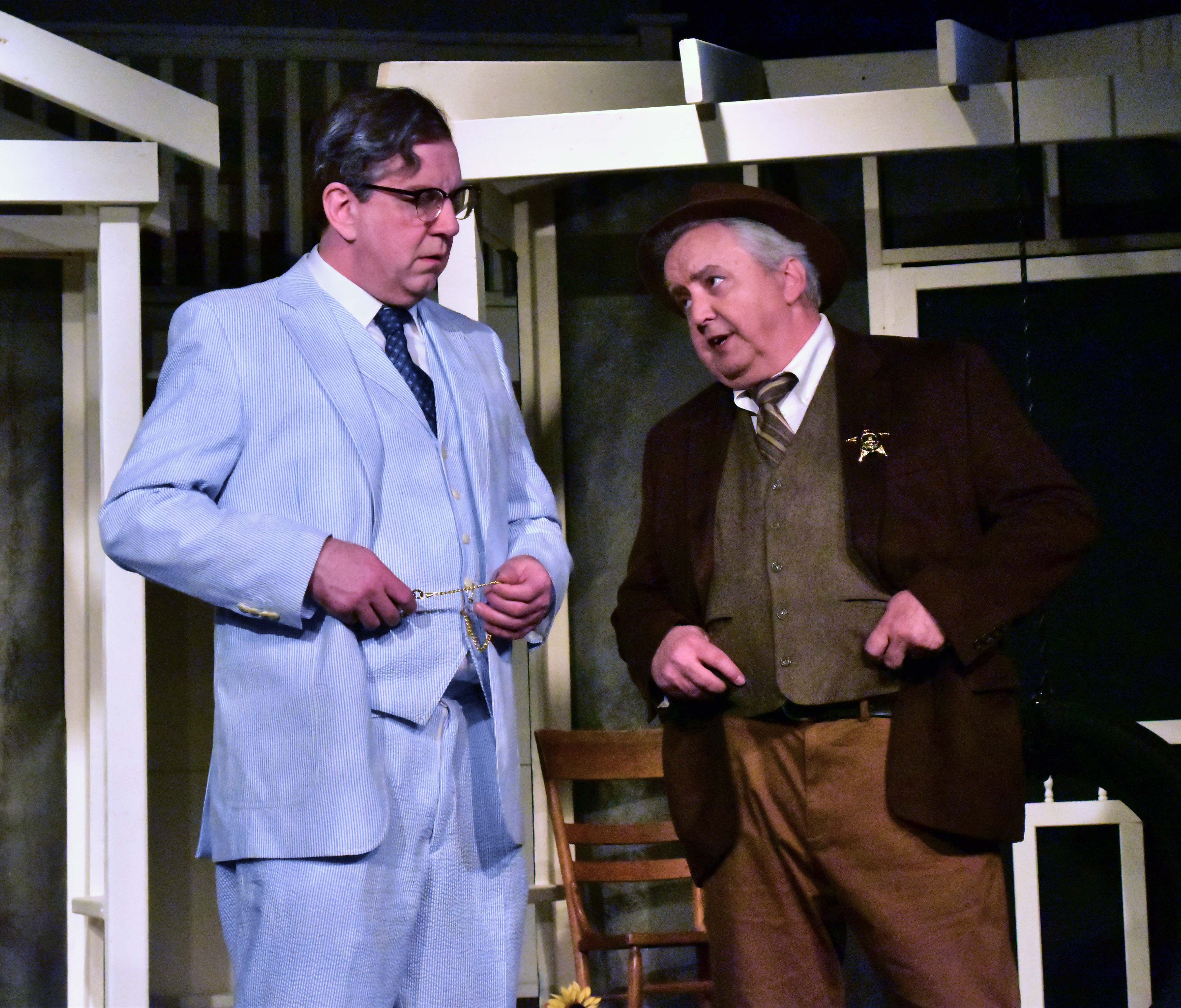 Robert Heinly as Atticus Finch and Bob Thompson as Sherriff Heck Tate in To Kill a Mockingbird Photo By Chip Gertzog Providence Players
