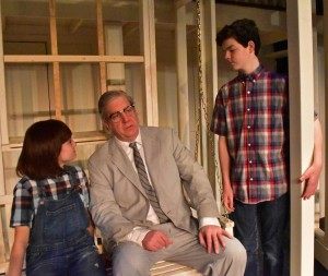Sophia Manicone as Scout with Rob Heinly as Atticus and Brendan Dure as Jem