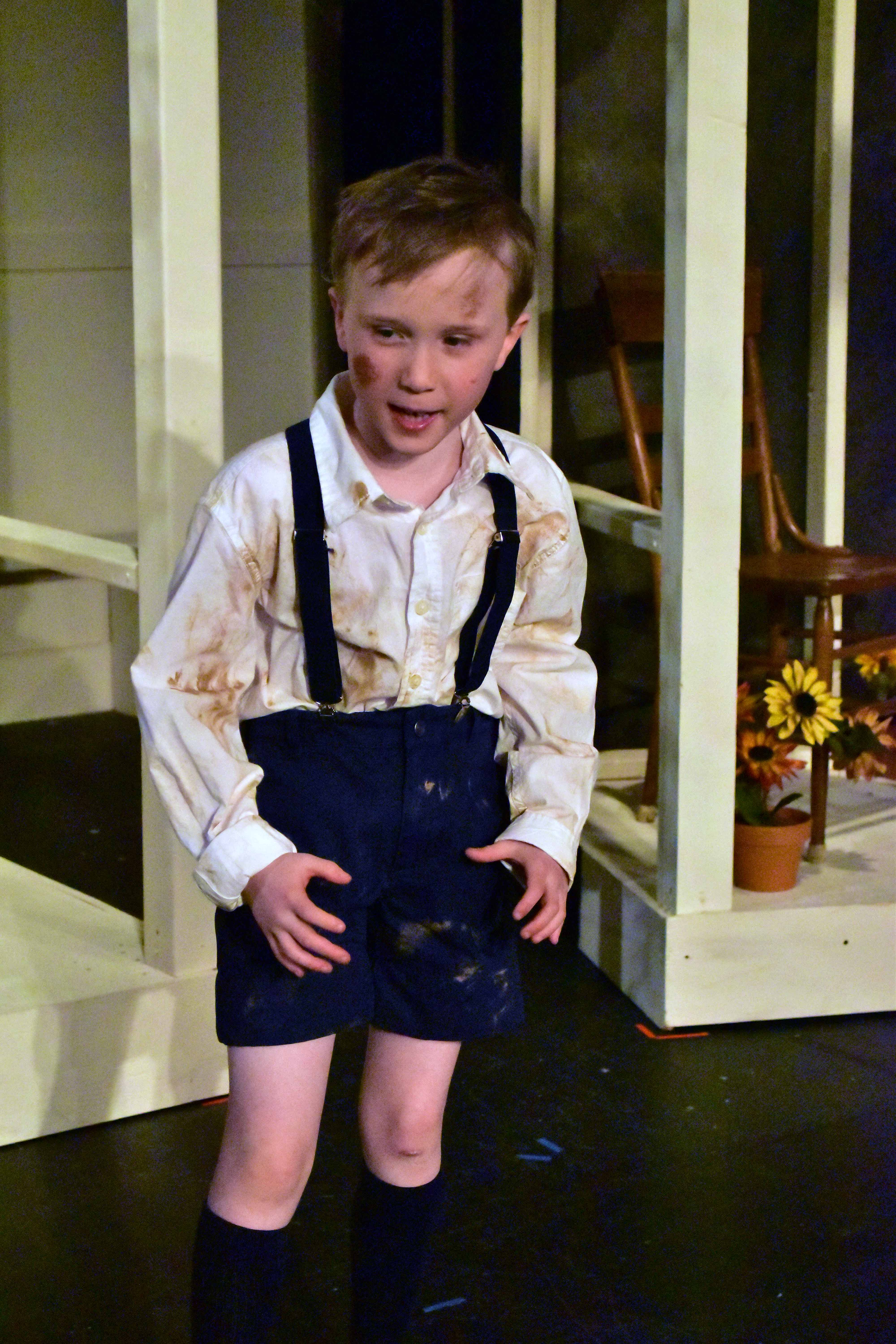 Caden Mitchell as Dill The Camel Washer in the Providence Players production of To Kill a Mockingbird Photo by Chip Gertzog Providence Players