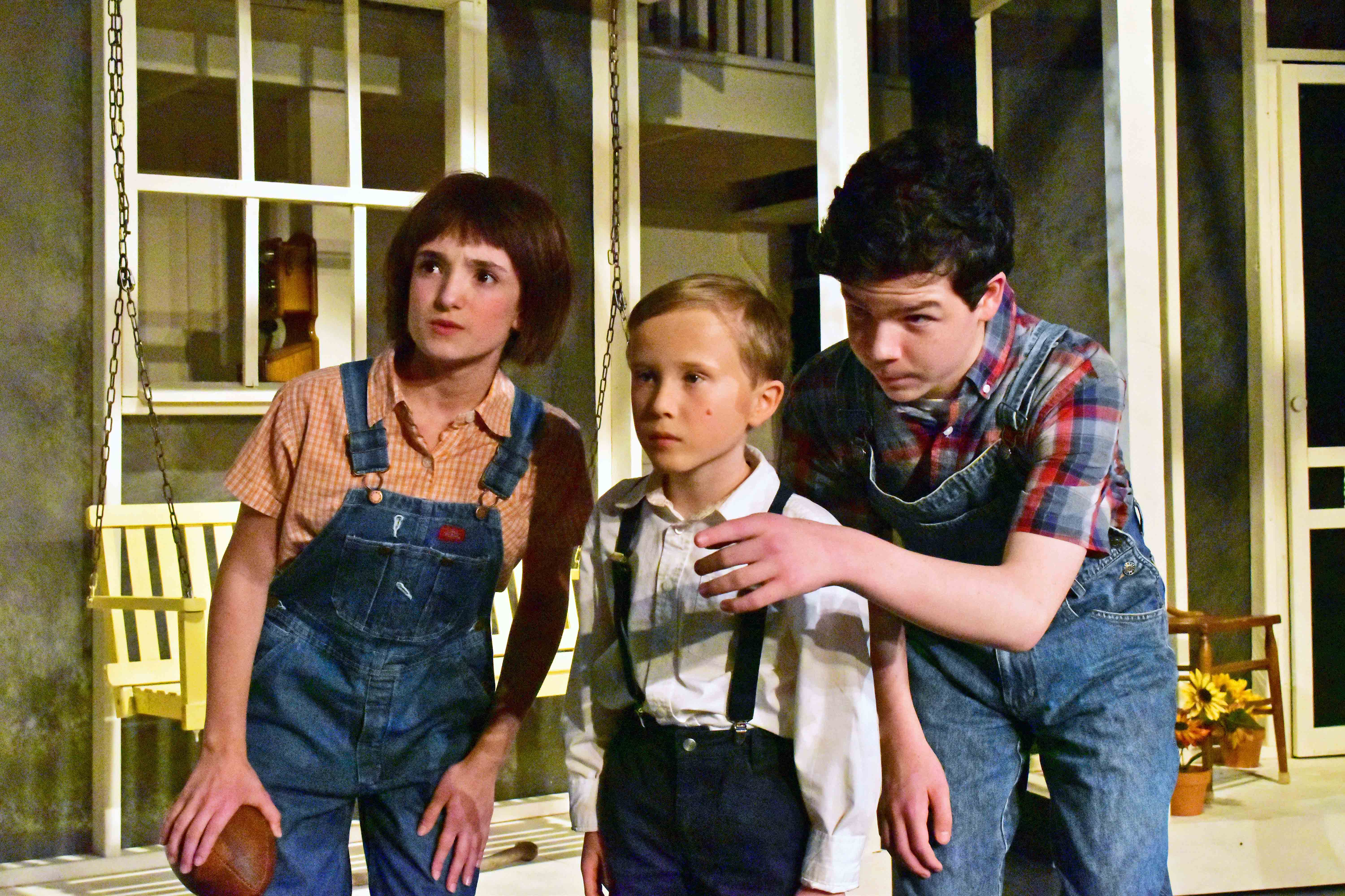 Sophia Manicone Caden Mitchell and Brendan Dure in the Providence Players production of To Kill a Mockingbird Photo by Chip Gertzog Providence Players