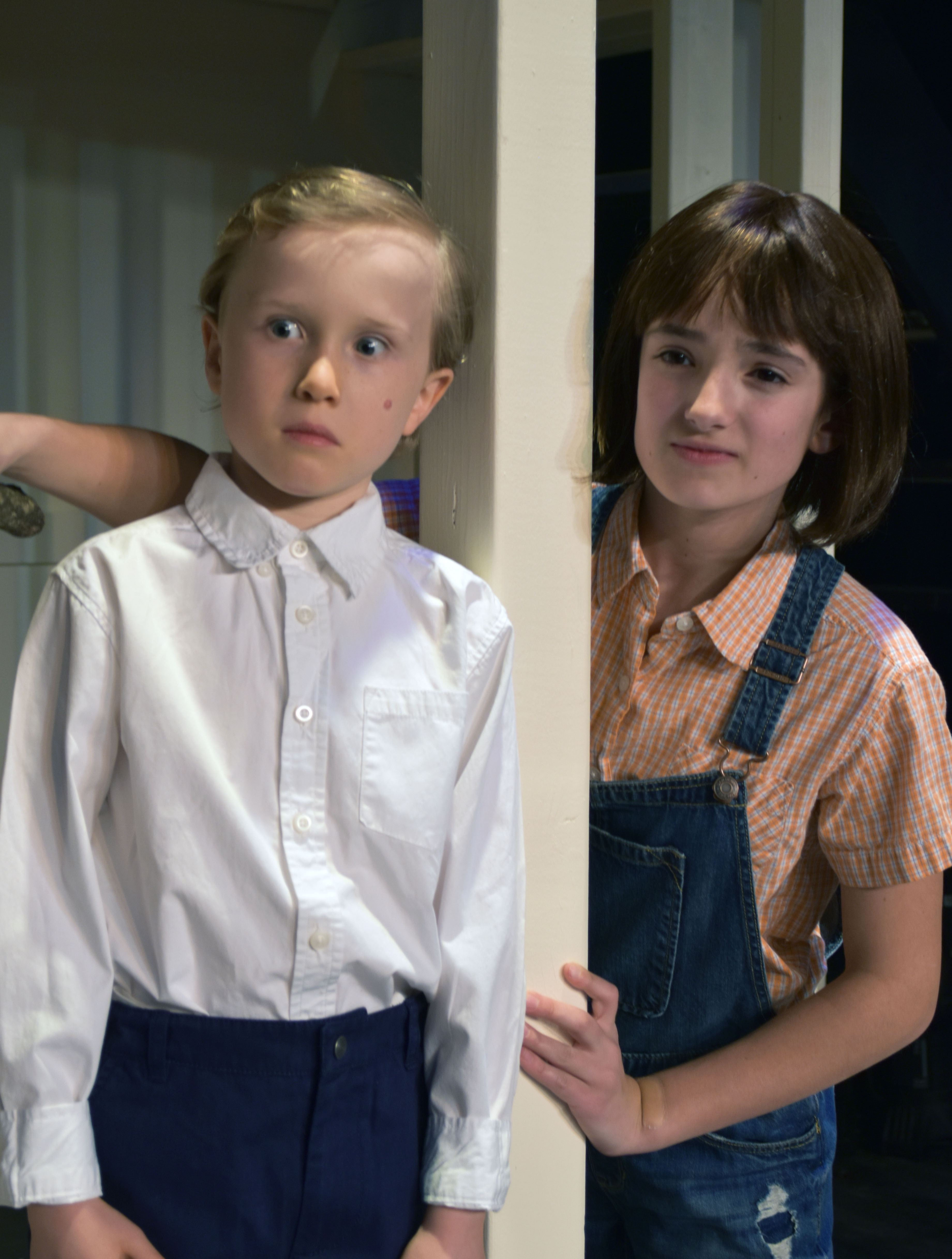 Caden Mitchell as Dill with Sophia Manicone as Scout in the Providence Players production of To Kill a Mockingbird Photo by Chip Gertzog, Providence Players