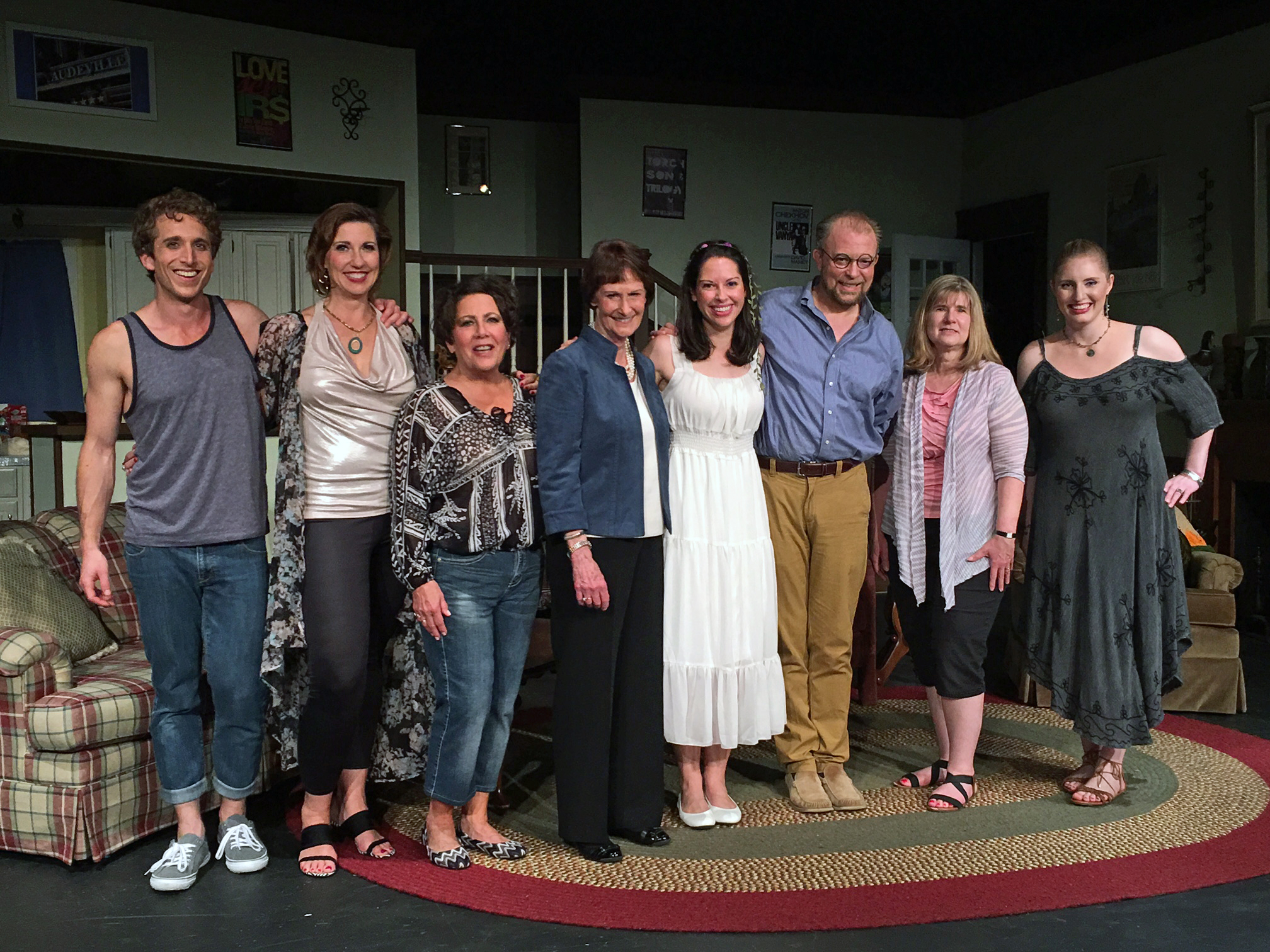 "Fairfax County Board Chairman Sharon Bulova with the cast of the Providence Players hit comedy ""Vanya and Sonya and Masha and Spike"" Photo by Chip Gertzog Providence Players"