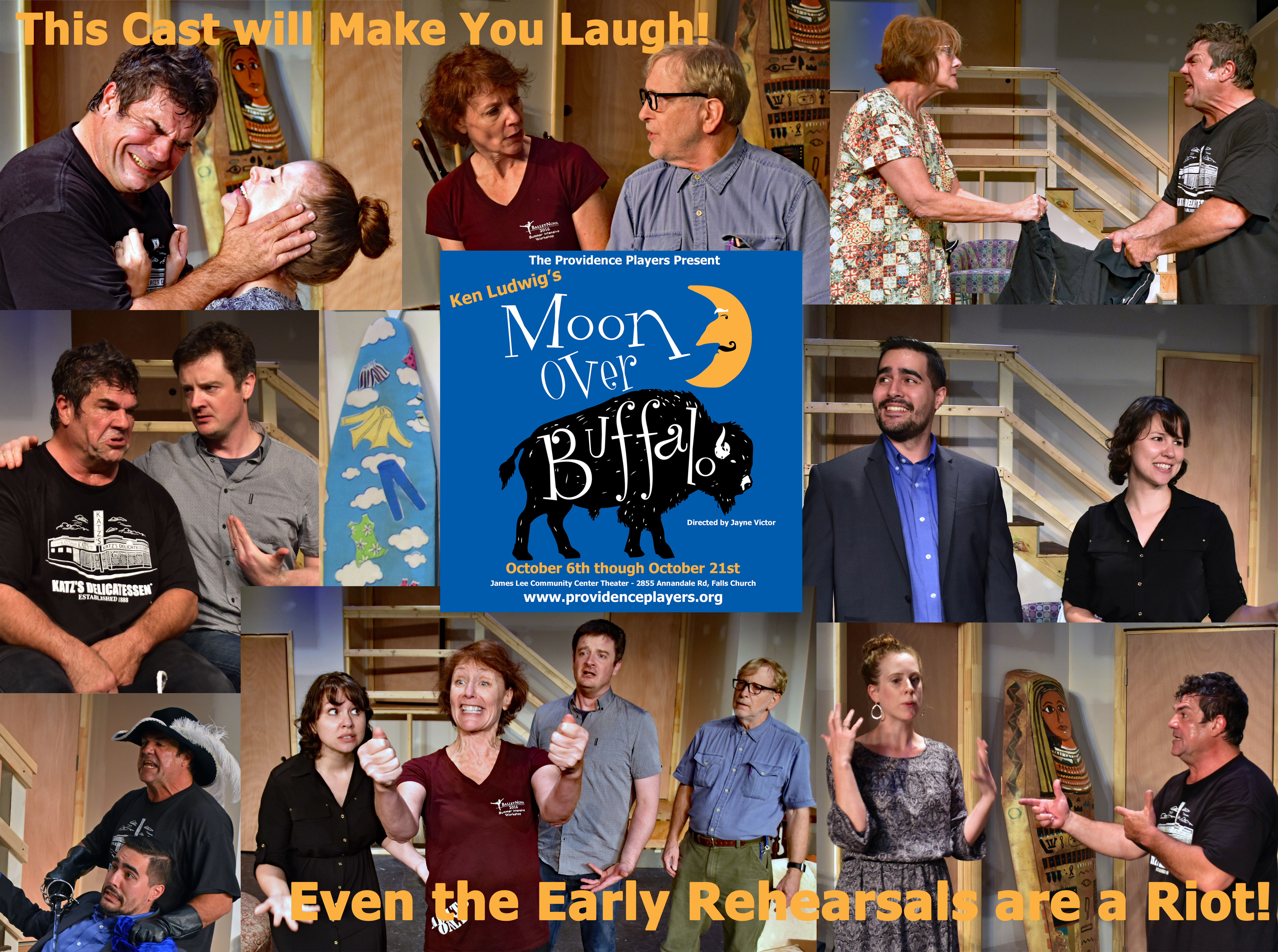 Providence Players Moon Over Buffalo Early Rehearsal Montage Photo by Chip Gertzog
